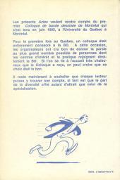 Verso de (DOC) Études et essais divers - Premier colloque de bande dessinée de Montréal