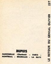 Verso de Génial Olivier -MR1381- Le Retour du génial Olivier