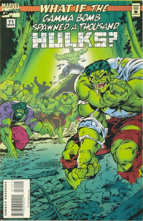Couverture de What If? vol.2 (1989) -71- What if... the Gamma Bomb Spawned a Thousand Hulks?