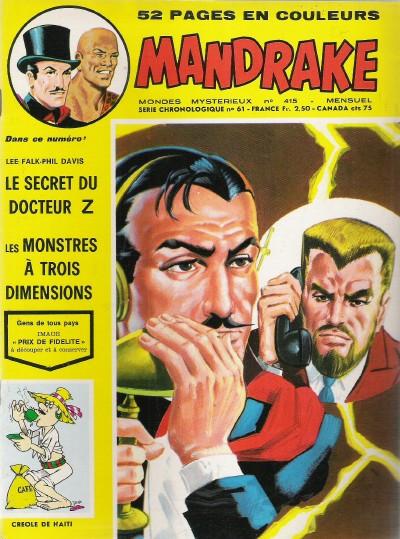 Couverture de Mandrake (1re Série - Remparts) (Mondes Mystérieux - 1) -415- Le secret du docteur Zède