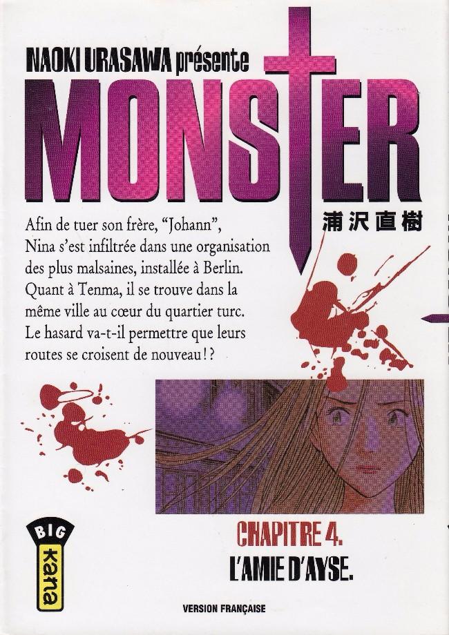 Couverture de Monster (Urasawa) -4- L'amie d'Ayse