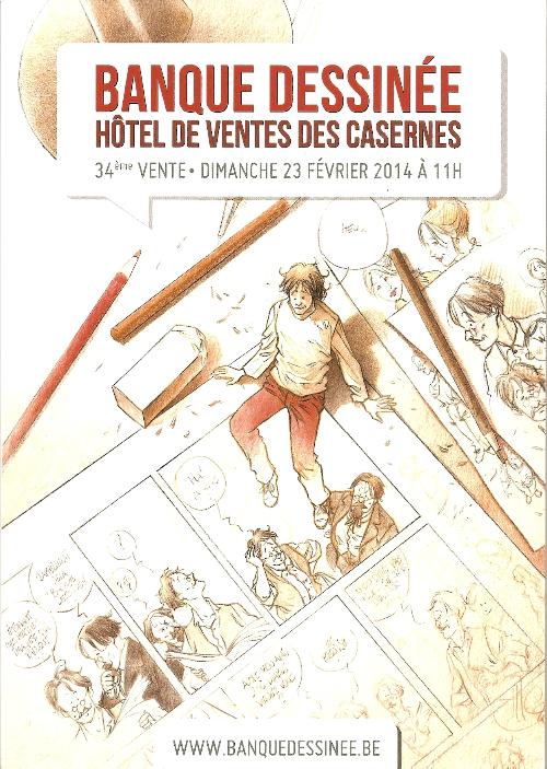 Couverture de (Catalogues) Ventes aux enchères - Divers - Banque Dessinée - 34ème vente - dimanche 23 février 2014 - Bruxelles hôtel de ventes des Casernes