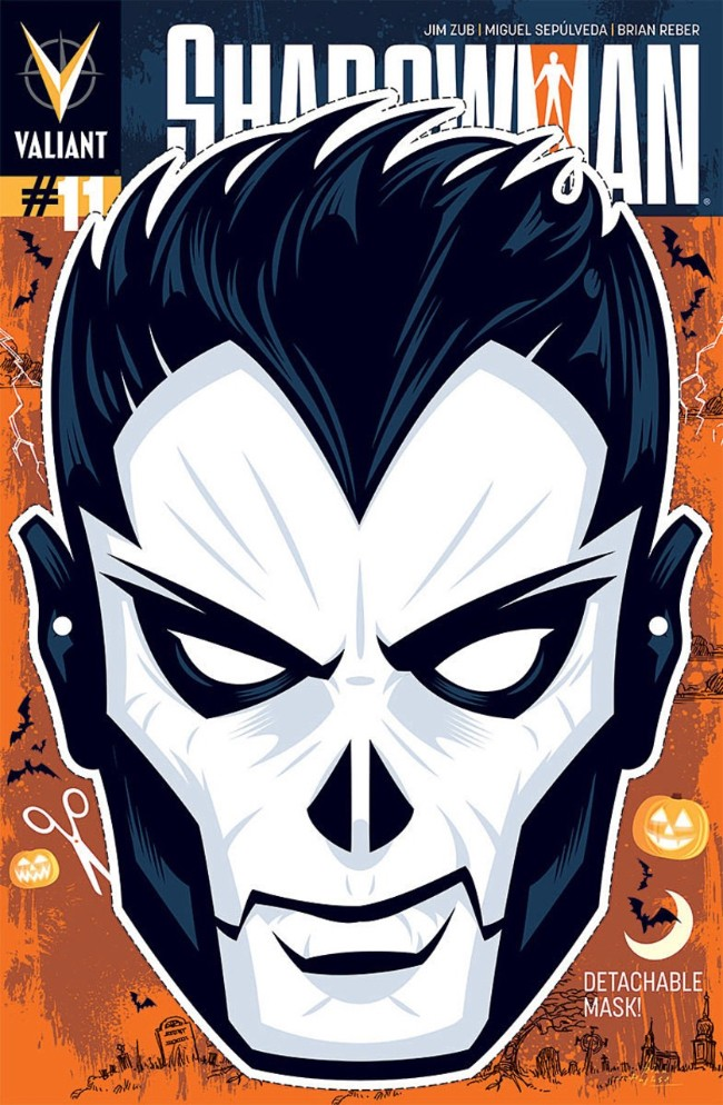 Couverture de Shadowman (2012) -11VC- Hallow Tides And Hollow Heads (Halloween Mask Cover)