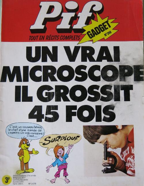 Couverture de Pif (Gadget) -240- Un vrai microscope il grossit 45 fois