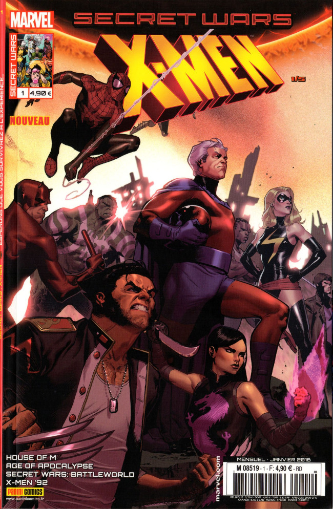 Couverture de Secret Wars : X-Men -1- Espérons que vous survivrez à l'expérience