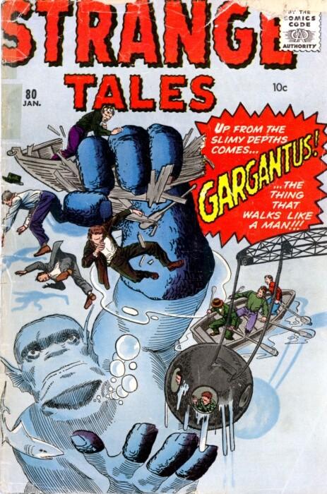 Couverture de Strange Tales (1951) -80- Gargantus! the thing that walks like a man!!!
