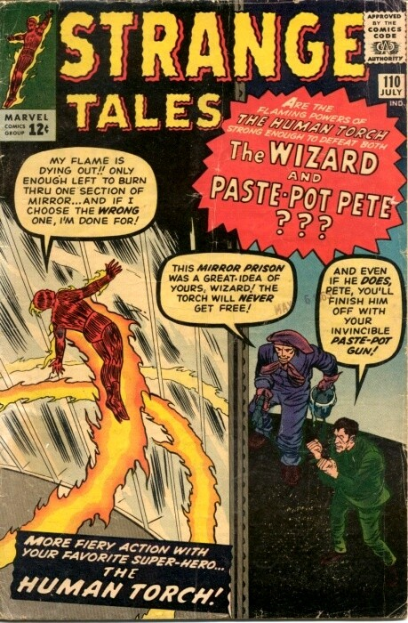 Couverture de Strange Tales (1951) -110- The Human Torch vs the Wizard and Paste-Pot Pete!