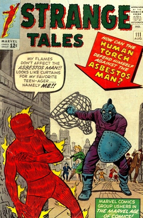 Couverture de Strange Tales (Marvel - 1951) -111- Fighting to the Death with the Asbestos Man!