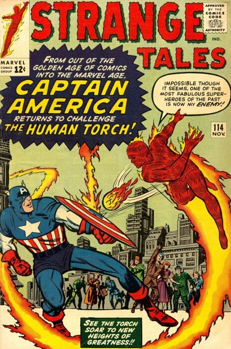 Couverture de Strange Tales (1951) -114- The Human Torch Meets... Captain America