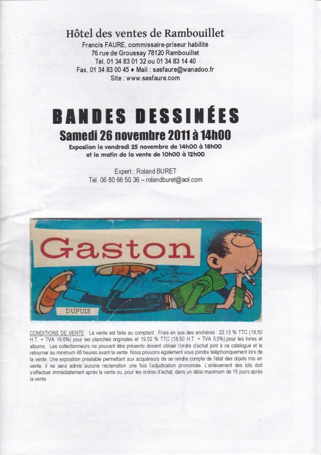 Couverture de (Catalogues) Ventes aux enchères - Divers - Faure - Bandes dessinées - samedi 26 novembre 2011 - Hôtel des ventes de Rambouillet