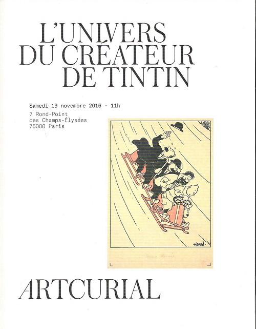 Couverture de (Catalogues) Ventes aux enchères - Artcurial - Artcurial - L'univers du créateur de Tintin - Samedi 19 novembre 2016