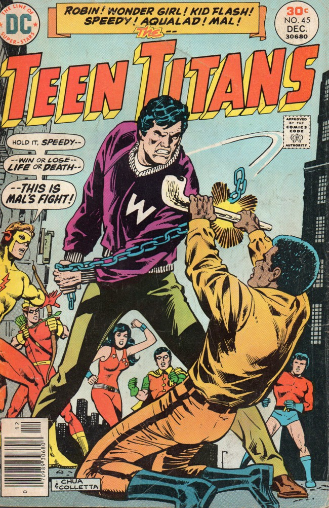 Couverture de Teen Titans (1966) -45- You Can't Say No to the Angel of Death (or Can You?)