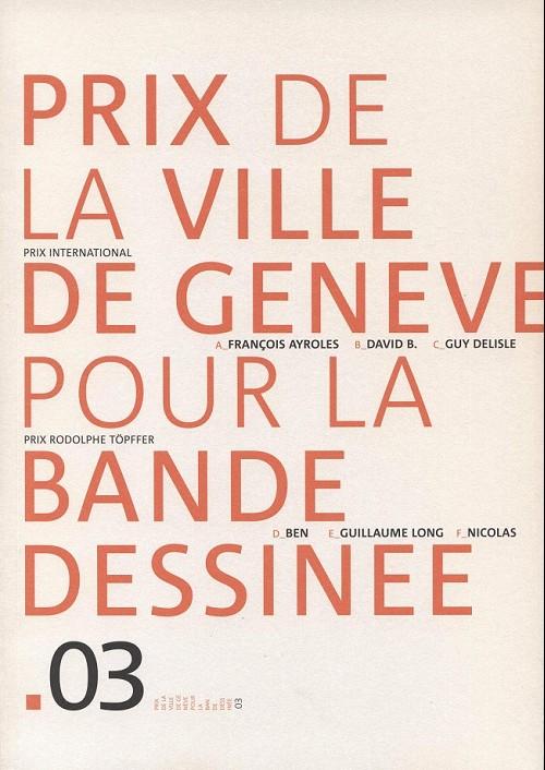 Couverture de (Catalogues) Prix Töpffer de la ville de Genève -8- 2003