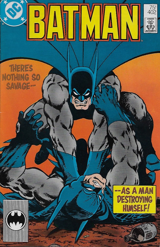 Couverture de Batman Vol.1 (DC Comics - 1940) -402A- There's Nothing So Savage -- As a Man Destroying Himself!