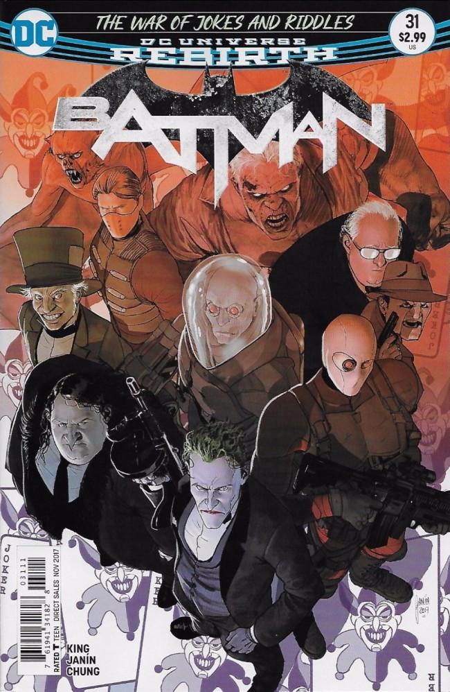 Couverture de Batman (DC Comics - 2016) -31- The War of Jokes and Riddles, Part Five