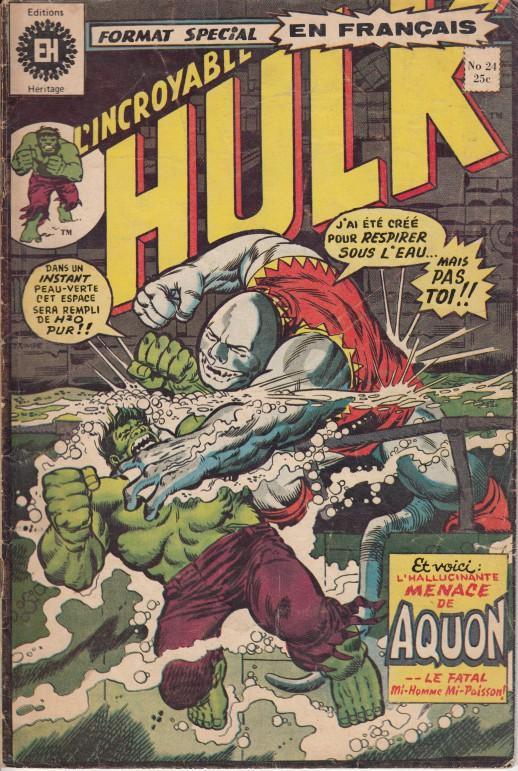 Couverture de L'incroyable Hulk (Éditions Héritage) -24- La menace d'Aquon