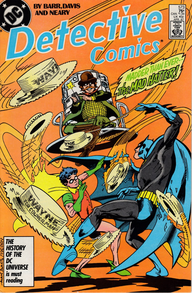 Couverture de Detective Comics (1937) -573- The Mad Hatter Flips His Lids