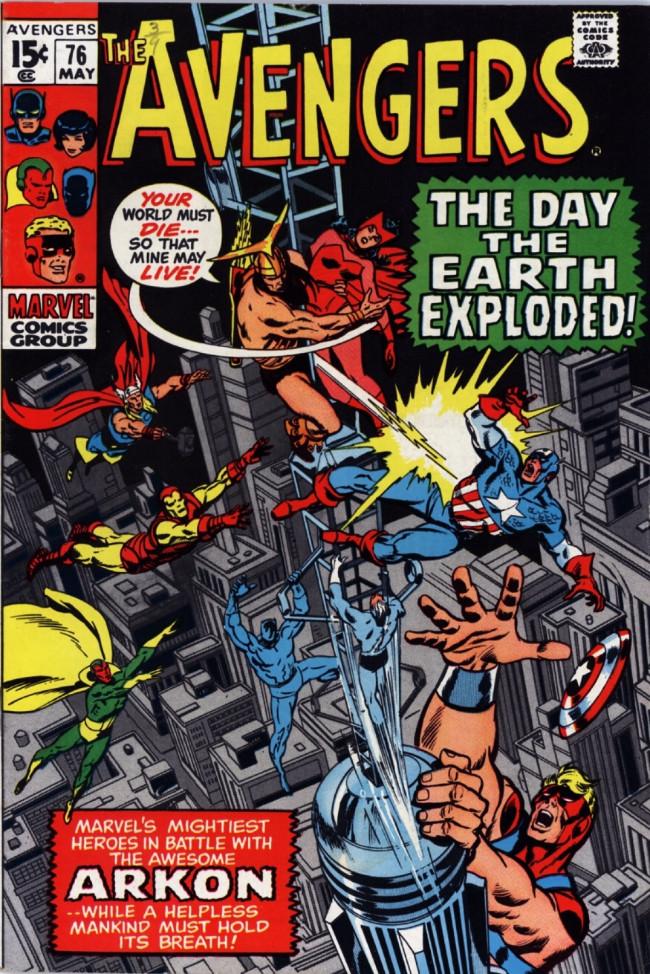 Couverture de Avengers Vol. 1 (Marvel Comics - 1963) -76- The Blaze of Battle... The Flames of Love!