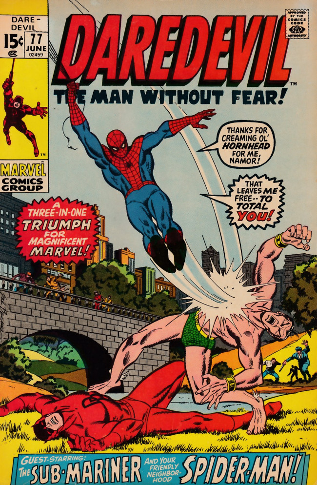 Couverture de Daredevil (1964) -77- And so enters the amazing spider-man