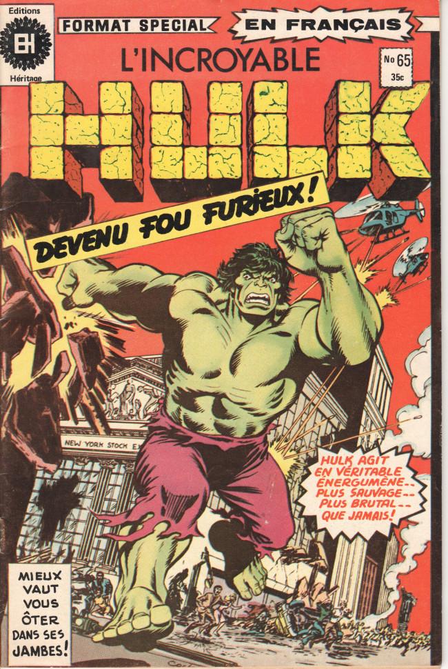Couverture de L'incroyable Hulk (Éditions Héritage) -65- Un homme-brute devenu fou furieux !