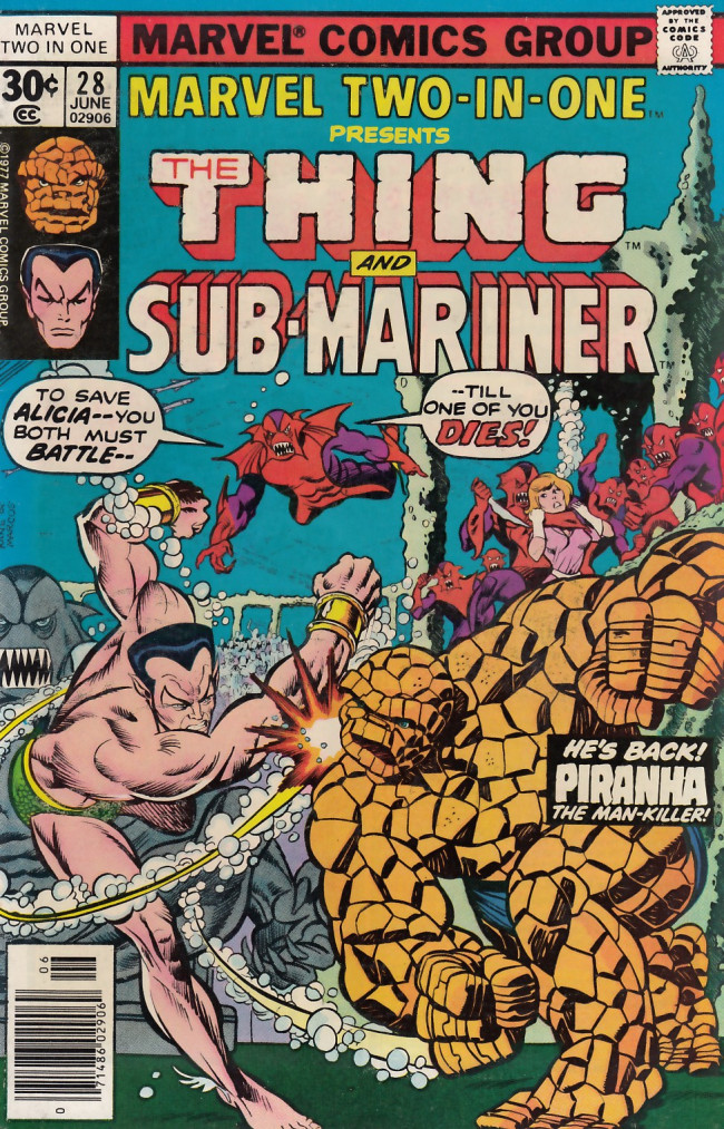 Couverture de Marvel Two-In-One (1974) -28- In the Power of the Piranha!