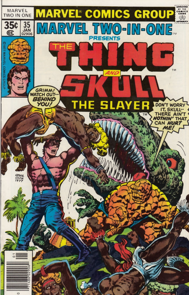Couverture de Marvel Two-In-One (1974) -35- Enter: Skull The Slayer and Exit: The Thing!