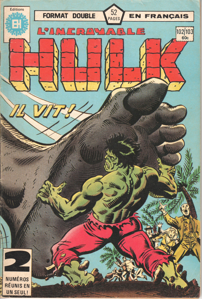 Couverture de L'incroyable Hulk (Éditions Héritage) -102103- Il vit !