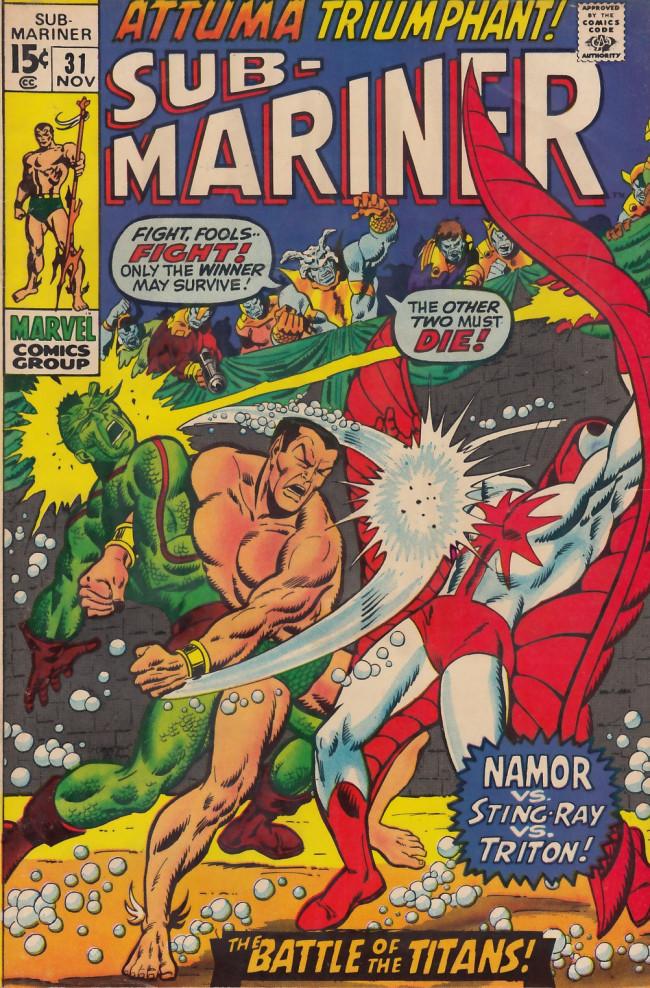 Couverture de Sub-Mariner Vol.1 (Marvel - 1968) -31- Attuma Triumphant