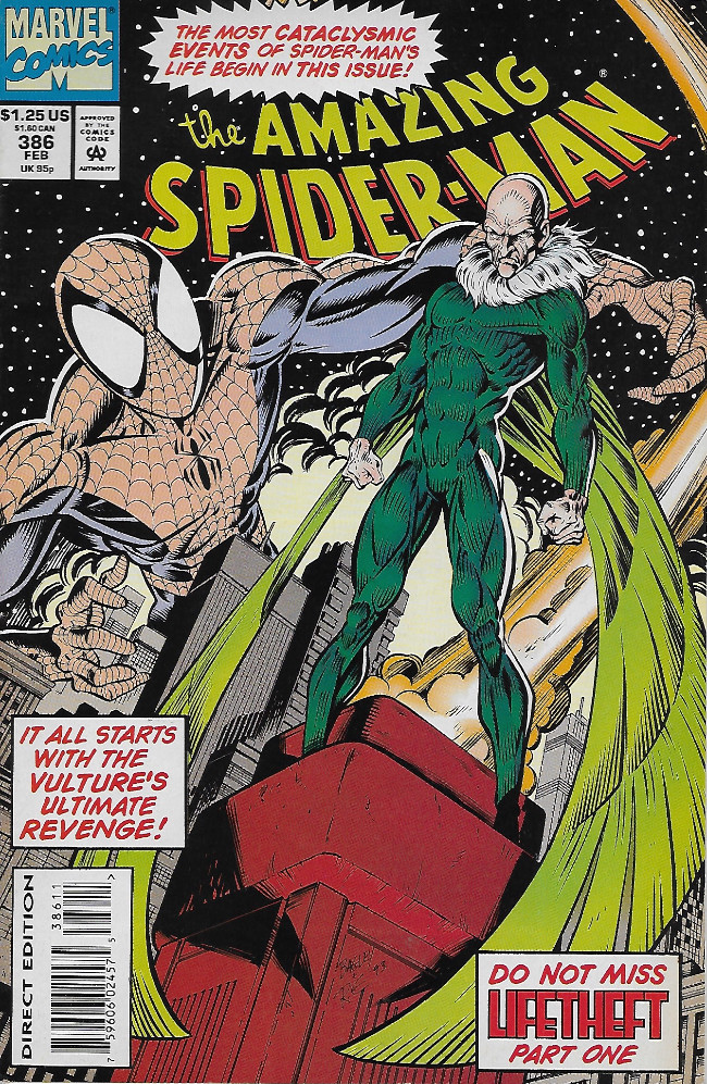 Couverture de The amazing Spider-Man Vol.1 (Marvel comics - 1963) -386- Lifetheft, Part One