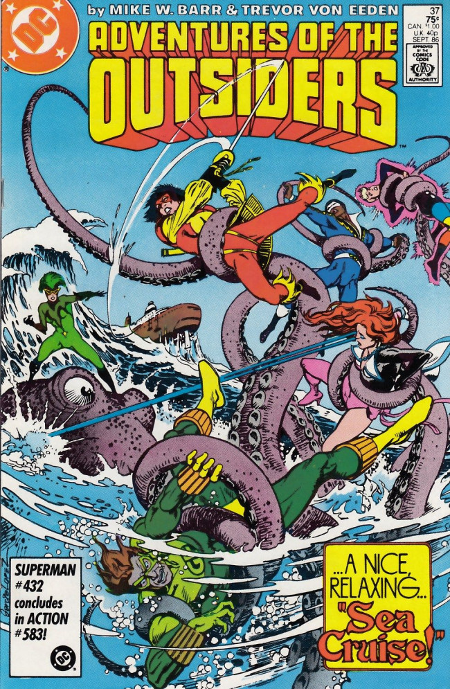 Couverture de Adventures of the Outsiders (DC comics - 1986) -37- Won't You Let Me Take You on a -- Sea Cruise?