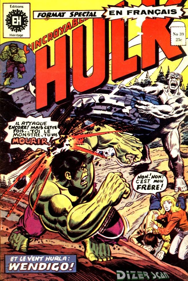 Couverture de L'incroyable Hulk (Éditions Héritage) -39- Et le vent hurle... Wendigo!