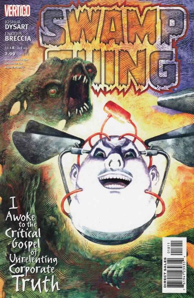 Couverture de Swamp Thing Vol.4 (DC comics - 2004) -18- I Awoke to the Critical Gospel of Unrelenting Corporate Truth