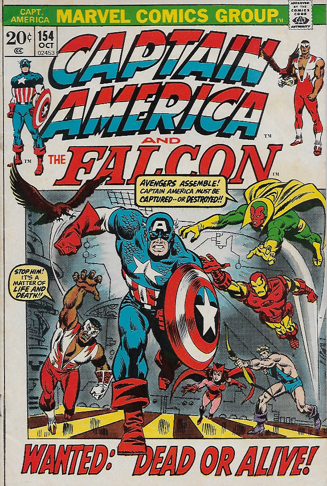 Couverture de Captain America (Marvel comics - 1968) -154- The Falcon Fights Alone!
