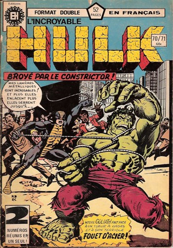 Couverture de L'incroyable Hulk (Éditions Héritage) -7071- Ecrasé par le constricteur !