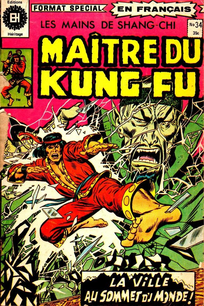 Couverture de Les mains de Shang-Chi, maître du Kung-Fu (Éditions Héritage) -34- 4e partie (Black Jack Tarr): Une cité au sommet du monde!