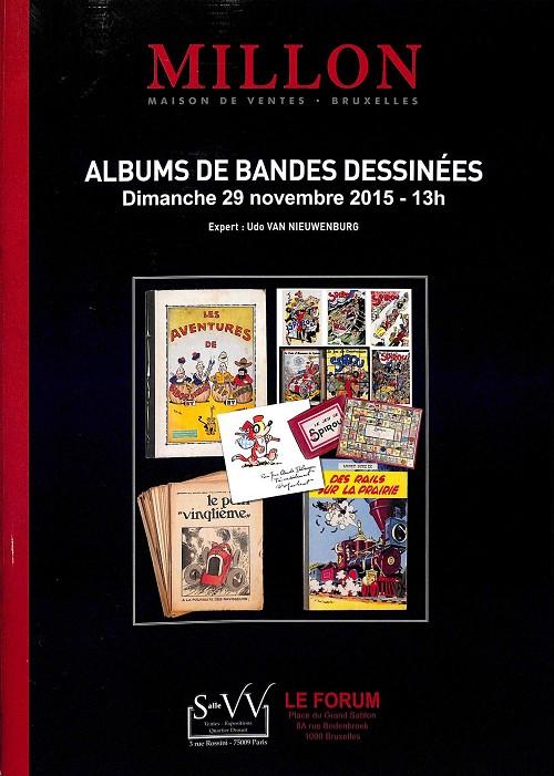 Couverture de (Catalogues) Ventes aux enchères - Millon - Millon - Albums de bandes dessinées - Dimanche 29 novembre 2015 - Bruxelles