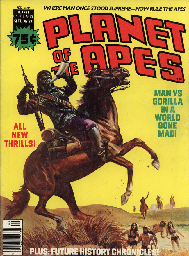 Couverture de Planet of the Apes (Marvel comics - 1974) -24- Man vs Gorilla in a world gone mad!