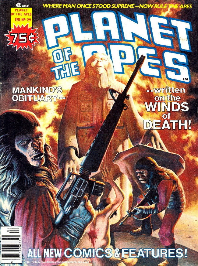 Couverture de Planet of the Apes (Marvel comics - 1974) -29- Mankind's Obituary.. ..Written on the Winds of Death!