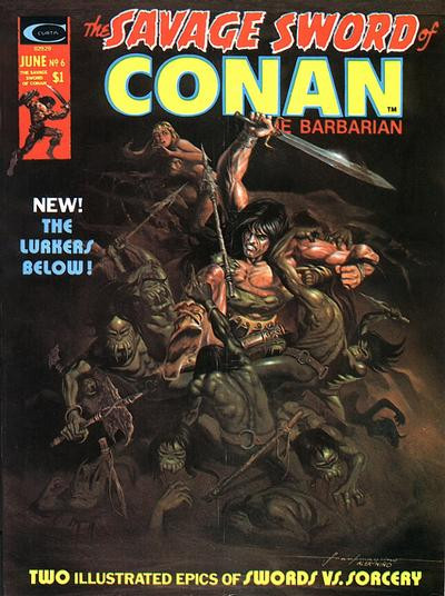 Couverture de Savage Sword of Conan The Barbarian (The) (1974) -6- The Lurkers Below!