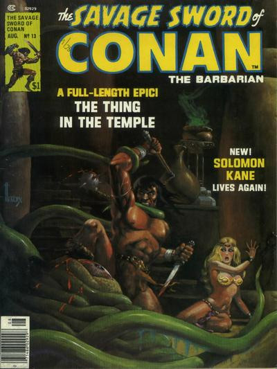 Couverture de Savage Sword of Conan The Barbarian (The) (1974) -13- The Thing in the Temple
