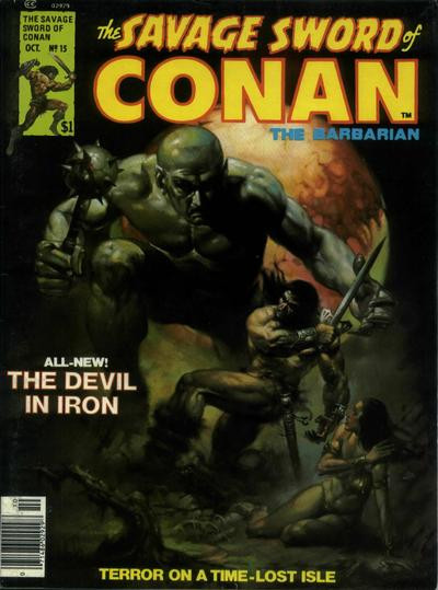 Couverture de Savage Sword of Conan The Barbarian (The) (1974) -15- The Devil in Iron