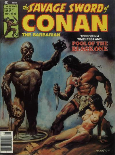 Couverture de Savage Sword of Conan The Barbarian (The) (1974) -22- Pool of the Black One