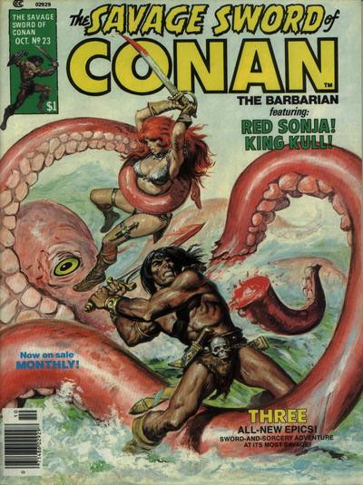 Couverture de Savage Sword of Conan The Barbarian (The) (1974) -23- Torrent of Doom
