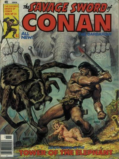 Couverture de Savage Sword of Conan The Barbarian (The) (1974) -24- Tower of the Elephant