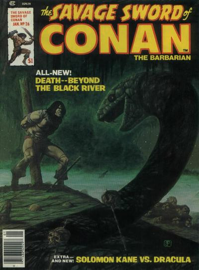 Couverture de Savage Sword of Conan The Barbarian (The) (1974) -26- Death -- Beyond the Black River