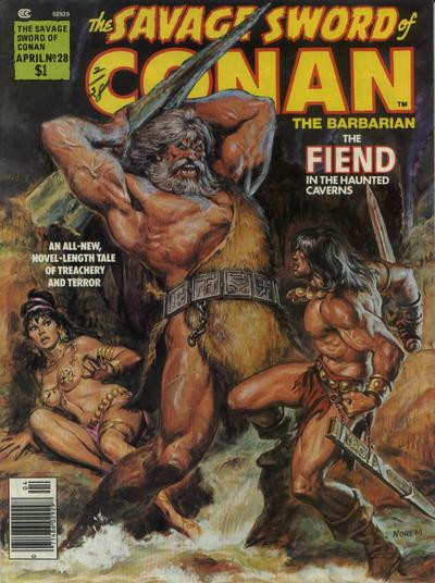 Couverture de Savage Sword of Conan The Barbarian (The) (1974) -28- The Fiend in the Haunted Caverns