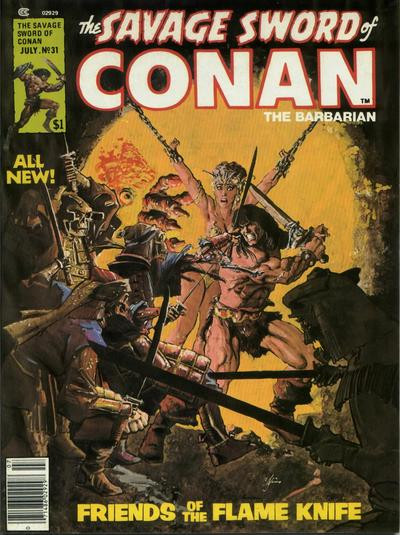 Couverture de Savage Sword of Conan The Barbarian (The) (1974) -31- Friends of the Flame Knife