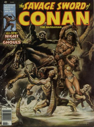 Couverture de Savage Sword of Conan The Barbarian (The) (1974) -32- Night of the Ghouls