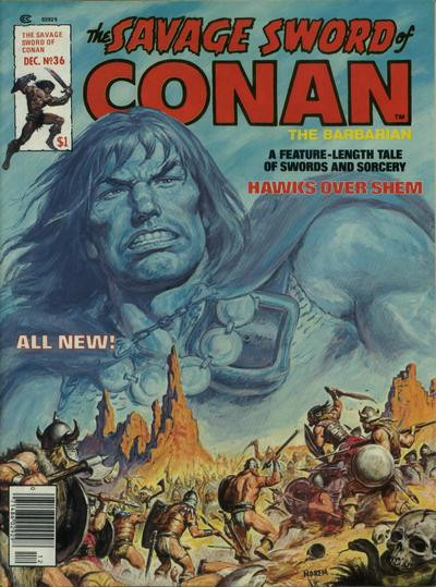 Couverture de Savage Sword of Conan The Barbarian (The) (1974) -36- Hawks over Shem