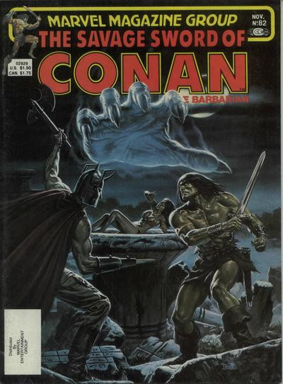 Couverture de Savage Sword of Conan The Barbarian (The) (1974) -82- The Demon in the Dark!